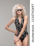 fashion portrait of young sexy...   Shutterstock . vector #1110742697