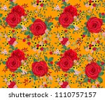 floral seamless pattern. red... | Shutterstock . vector #1110757157