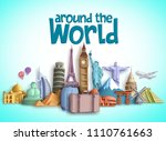 Travel around the world vector banner design with travel destinations and famous tourist landmarks of different countries. Colorful buildings and monuments vector elements.  | Shutterstock vector #1110761663
