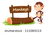 illustration of monkey and name ... | Shutterstock . vector #111083213