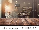 empty old wood table top and...   Shutterstock . vector #1110836417