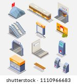 subway icon set. vector flat...   Shutterstock .eps vector #1110966683