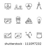 Printing & graphic design icon  series in sketch - stock vector
