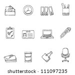 Office icon  series in sketch - stock vector