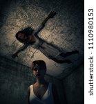 3d illustration of a girl lost...   Shutterstock . vector #1110980153