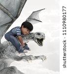 boy riding the dragon 3d...   Shutterstock . vector #1110980177