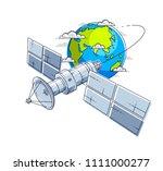 communication satellite flying... | Shutterstock .eps vector #1111000277