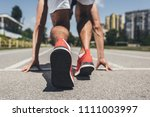 back view of male sprinter in... | Shutterstock . vector #1111003997