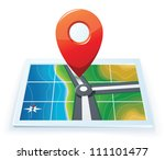 Modern gps map icon - stock vector
