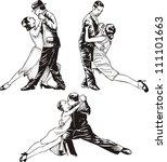 dancing couples. set of black... | Shutterstock .eps vector #111101663