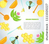 honey background with flat... | Shutterstock .eps vector #1111020227