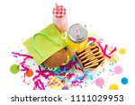 festive composition drinks... | Shutterstock . vector #1111029953