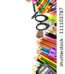 school and office supplies... | Shutterstock . vector #111103787