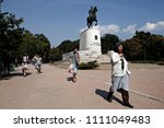 refugees and migrants in a... | Shutterstock . vector #1111049483