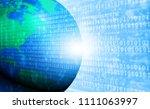 abstract binary earth. 3d... | Shutterstock . vector #1111063997