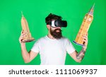 man with hipster beard in vr... | Shutterstock . vector #1111069937