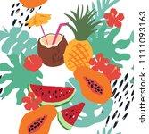 minimal summer trendy vector... | Shutterstock .eps vector #1111093163