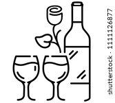 wine bottle  glasses and flower.... | Shutterstock .eps vector #1111126877