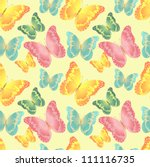 seamless background consisting of colored butterflies - stock vector