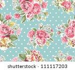 seamless pink vintage rose... | Shutterstock .eps vector #111117203
