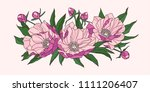 composition of pink peony... | Shutterstock .eps vector #1111206407