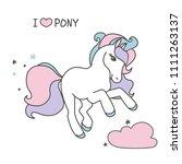vector cartoon cute pony with ... | Shutterstock .eps vector #1111263137