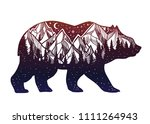 bear and night forest mountain... | Shutterstock .eps vector #1111264943