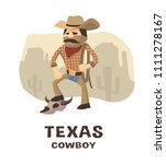 texas cowboy in a hand drawn...   Shutterstock .eps vector #1111278167