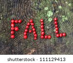 "A word ""fall"" written with cranberries - stock photo"
