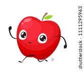 red apple is running sprint | Shutterstock .eps vector #1111295963