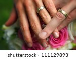 hands together with wedding... | Shutterstock . vector #111129893
