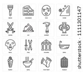set of 16 icons such as museum  ...