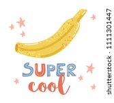 cartoon cute banana and hand... | Shutterstock . vector #1111301447