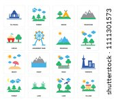 set of 16 icons such as village ...