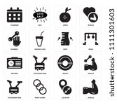 set of 16 icons such as muscle  ...