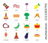 set of 16 icons such as ramen ...