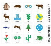 set of 16 icons such as frog ...