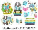 smart animals reading books set....   Shutterstock .eps vector #1111304207