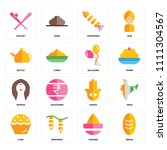 set of 16 icons such as bread ...