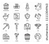 set of 16 icons such as world ...
