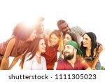 multiracial best friends... | Shutterstock . vector #1111305023