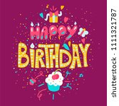 happy birthday poster with... | Shutterstock .eps vector #1111321787