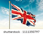 great britain flag on the blue... | Shutterstock . vector #1111350797