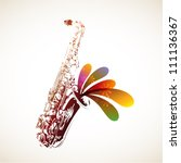 colorful sax   Shutterstock .eps vector #111136367