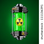 Container of nuclear energy in green color, vector illustration - stock vector