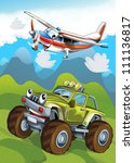 the car and the flying machine  ... | Shutterstock . vector #111136817