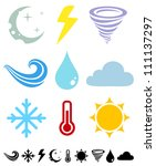 a set of colored icons weather | Shutterstock .eps vector #111137297