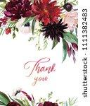 watercolor floral illustration  ... | Shutterstock . vector #1111382483