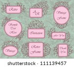 set of hand drawn frames in pink | Shutterstock .eps vector #111139457