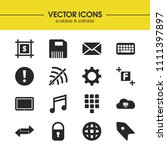 interface icons set with music...